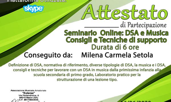 Seminario DSA e Musica Consigli e Tecniche di supporto Euterpe